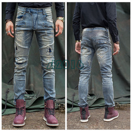 ripped jeans big size NZ - American Streetwear Men Robin Jeans Retro Washed Slim Fit Ripped Jeans For Men Spliced Designer Patchwork Biker Jeans Homme Big Size 29-42
