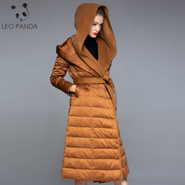 Wholesale white belted cashmere coat for sale - Group buy White Duck Down Jacket Female High Street Long Hooded Belt Full Sleeve Cashmere Streetwear Fashion Down Jackets Women Parka Coat