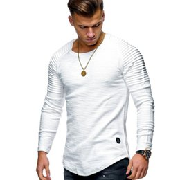 Januarysnow Hot Solid Color Sleeve Pleated Patch Detail Long Sleep T-Shirt Men Spring Casual Tops Pullovers Fashion Slim Basic Tops