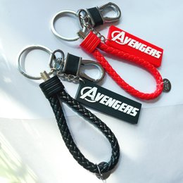 Discount iron man keyring - Marvel Keychain Anime Key chain Men Keyring Keychains Women Thor Hammer Iron man Thanos Key Rings