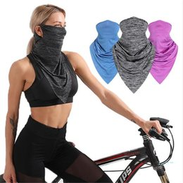Discount cool face masks Multifunction Quick Dry Cycling Scarf Summer Cool Ice Silk Half Face Masks Sun-proof Triangular Bandage Outdoor Hat Wris