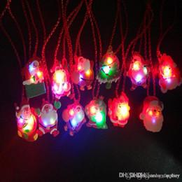 Glow Dress Australia - LED Christmas Light Up Flashing Necklace Children Kids Glow up Cartoon Santa Claus Pendant Party Xmas Dress Decorations