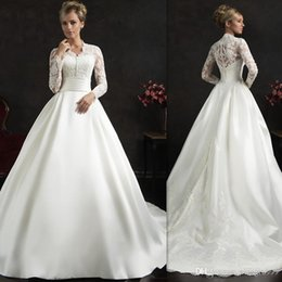 Amelia Sposa Cap Sleeve Australia - Elegant White Amelia Sposa Wedding Dresses Appliques Lace Long Sleeves Wedding Gowns Sweep Train Ball Gown Bridal Dress Custom Made