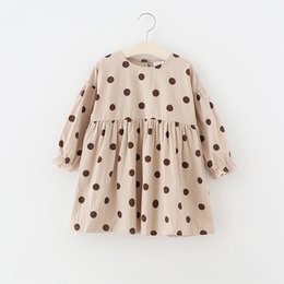 Wholesale Girl Kids Clothing Dress Round Collar Polka Dots Prnt Dress girl Spring Fall Long Sleeve Clothing Dress