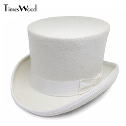 735244a3719 13.5cm Height White Wool Top Hats Mens Women Chapeau Fedora Magician Felt  Party Church Caps Fedoras Vintage Apka Dropshipping D19011102