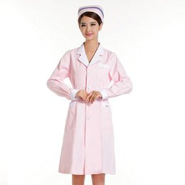 Nurses uNiforms suits online shopping - Cultivate one s morality pharmacy suit collar White pink medical nurse winter long sleeve uniform beauty