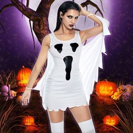 white sexy party outfit Australia - 2018 Autumn Sexy Party Dresses Women Halloween Cosplay Scream Ghost Print Fancy Dress Costume Role Play Masquerade Outfits White