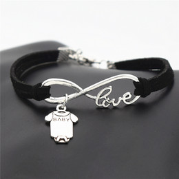 $enCountryForm.capitalKeyWord Australia - Hot Sale Infinity Love Cute Baby Short Sleeve Clothes T-shirt Romper Pendants Bracelets For Women Men Black Leather Suede Rope Style Jewelry