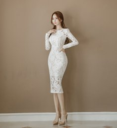 $enCountryForm.capitalKeyWord Australia - 2019 Summer Women Elegant O-Neck Knee-Length Office Dress Vintage White Lace Party Dresses Solid Long Sleeve Pencil Dress