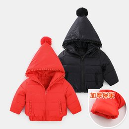 Discount jacket hat baby - fashion Christmas baby pointed hat hooded down jacket Winter boys girls clothes Brand warm kids winter cute clothes