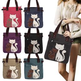 Cute Canvas Handbags Australia - 2019 New Fashion Women's Handbag Canvas Bag With Cute Cat Appliques Portable Causal Ladies Small Bags Agd Fab Women Bag
