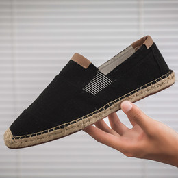 chinese slips shoes NZ - Patchwork Mens Shoes Casual Male Breathable Splice Canvas Shoes Men Chinese Fashion Nice Slip On Espadrilles Men Loafers Cotton