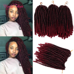 kinky twist hair piece Canada - 8inch fold Spring twist crochet braids hair extensions for bouncy curl with pre tiwsted in synthetic hair extensions xpression braiding hair