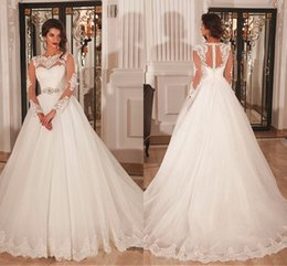 $enCountryForm.capitalKeyWord Australia - A-Line Long Sleeves Wedding Dresses Dubai African White Bridal Gowns With Jewel Neck Covered Button Crystal Belt Sweep Train Gowns DH4200