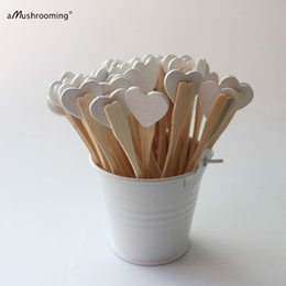 Bridal Shower Cupcakes Australia - 25 Rustic forks Wedding White Heart Party Picks Cupcake Toppers Fruit Picks Bamboo Forks Birthday Bridal Shower Party Decor