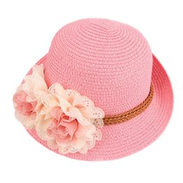 $enCountryForm.capitalKeyWord UK - Newly Children Girls Straw Hat Visor Beach Sun Cap Panama Summer Sunhat Wide Brim Floppy BFE88