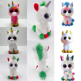 stuffed unicorn dolls 2020 - TY Beanie Boos Plush Doll 17cm Unicorn Stuffed Animal Soft Big Eyes Kids Toys Christmas Gift Novelty Items OOA5550 cheap