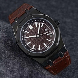 luxury brown leather watch Australia - luxury mens watch military watches Brown dial clock fashion Leather Wristwatches Swiss brand pp watch Montre de luxe orologio di lusso