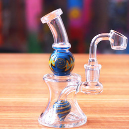 hand blown hookahs UK - Hottest Small Pipes Glass 15cm Colorful Ash Catcher Recycler Glass Bong Hand Blown Colorful Small Hookahs 14.4mm Joint Glass Bongs for Cheap