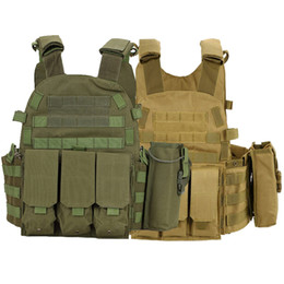 green army tactical vest men NZ - Tactical 6094 Molle Vest Outdoor Hunting Clothes Body Armor Army Combat Paintball Plate Carrier Vest Hunting Accessories