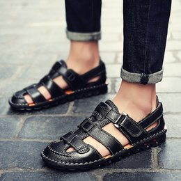 $enCountryForm.capitalKeyWord NZ - Summer Men Shoes Soft Bottom Men Sandals Slip-on Beach Shoes Genuine Leather Male Adult Plus Size 48 39 S Sandals