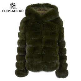 real army jacket NZ - FURSARCAR Top Quality Women Winter Thick Real Fur Genuine Leather Female Jacket Women Short Natrual Fur Coat with Hood