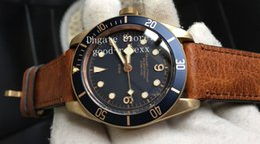 Luxury men watches chronometer online shopping - Top Luxury XF Factory Automatic ETA Bronze Watch Men Blue Dial Chronometer Mens Dive Sapphire Leather Rotating Ceramic Bezel Watches