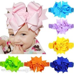 $enCountryForm.capitalKeyWord Australia - Baby Girls Super Big 20cm Bows Headbands Kids Children Grosgrain Ribbon Forked Tail Bow Hairbands Elastic Wide Band Hair Accessories Kha345