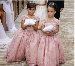 flower girls short lace dresses Canada - Blush Pink Lovely Flower Girl Dresses For Bride 2020 Lace Short Sleeve Princess First Holy Communion Dress Party Evening Gowns Toddler Cheap
