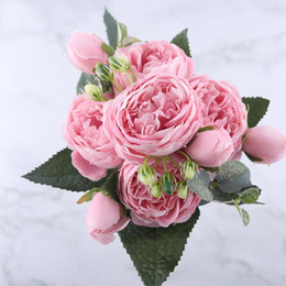 roses indoors NZ - 30cm Rose Pink Silk Peony Artificial Flowers Bouquet 5 Big Head and 4 Bud Cheap Fake Flowers for Home Wedding Decoration indoor 8 Colors