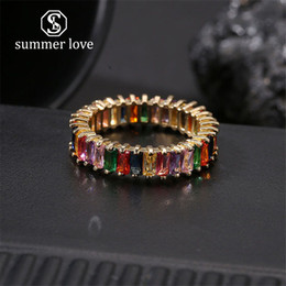 $enCountryForm.capitalKeyWord Australia - 2019 New Fashion Jewelry Rainbow Square Baguette CZ Engagement Ring for Women Gold Copper Cubic Zirconia Colorful Eternity Band Ring