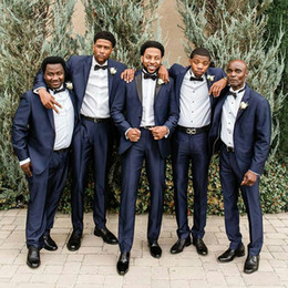 $enCountryForm.capitalKeyWord Australia - Men Suits for Wedding Man Navy Blue Tuxedo Groomsmen Suits Man Blazer Jacket Costume Homme 2Piece Double Breast Slim Fit Terno Masculino
