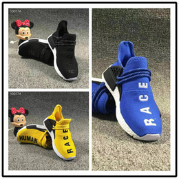 1dc225503 Pharrell Williams Infant Human Race Kids running shoes Yellow toddlers  athletic SPORT Trainers Children boys girls sneakers Core Black Whit