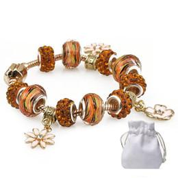 $enCountryForm.capitalKeyWord Australia - Good Quality Bracelets Fit Pandora Logo Golden Murano Glass Crystal Beads Bangles Gold Daisies Pendant Silver Women Brand Jewelry Gift