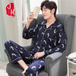 cardigan shirt sets 2019 - Cardigan Pyjama Men Set Cotton Spring Pijama Men Solid Long Sleeve Pajama Man Autumn Turn-down Collar Pajama Male L XL X