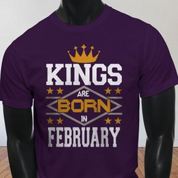 6c70d85dd2 Kings Born In February Crown Love Aquarius Pisces Mens Purple T-Shirt Tee  Shirt Men's Designed Short Sleeve Fashion Custom XXXL Couple T Shi