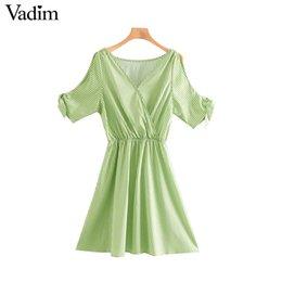 $enCountryForm.capitalKeyWord NZ - Vadim women sweet plaid print V neck mini dress bow tie short sleeve elastic waist summer chic A line dresses vestidos QC045
