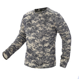 4951be184 2018 New Tactical Camouflage T Shirt Male Breathable Quick Dry US Army  Combat Full Sleeve Outwear T-shirt for Men