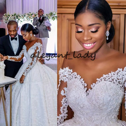 Sheer bodice feather wedding dreSS online shopping - Plus Size Long Sleeve Wedding Dresses with Illusion Jewel Neck Luxury Lace Embroidery butterfly African Nigerian Princess Wedding Gown