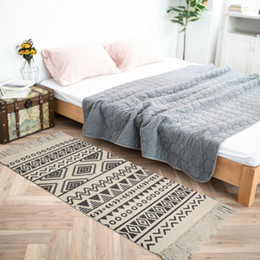Cotton Floor Rugs Australia - Cotton Soft Tassel Home Carpets For Living Room Bedroom Kid Room Decorate Home Carpet Floor Door Mat Simple Nordic Area Rug Mat two Size