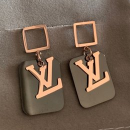 $enCountryForm.capitalKeyWord Australia - 2019 Top Quality new Designer brand rose Gold black square drop earrings Fashion Titanium Steel summer Earrings For Women girls wholesale