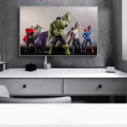 funny bathroom wall art UK - Avengers Movie Hulk Superheroes in the Bathroom Thor Poster Nordic Funny Marvel Heros Children Room Decor Wall Art Canvas Painting Picture