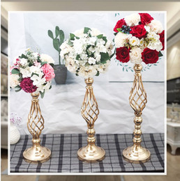 gold wedding candelabra wholesale Australia - Flowers Vases Display Flower Stand Candle Holders Road Lead Table Centerpieces Metal Gold Stand Pillar Candlestick For Wedding Candelabra