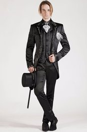 $enCountryForm.capitalKeyWord Australia - Latest Black Tailored Satin Wedding Suit For Men 3 Pieces Custom Made Tuxedos Mandarin Lapel Prom Latest Design Slim Blazer