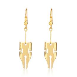 Pen Writes Gold Color UK - Fashion Adventure Rohan Kishibe Pen Earring Jewelry Gold Color Written Pen Nib Writer Drop Earring Wedding Decoration