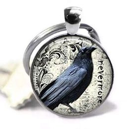 Goth Metal Australia - Poe's Raven Pendant Key Chain , Raven Key Chain Poe Nevermore Goth Jewelry Literary Pendant Glass Dome Art Picture Handcrafted KeyChain