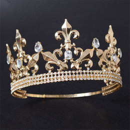China Adjustable Round Gold Silver Wedding King Tiara Crown Headpiece For Men Party Hair Ornaments Rhinestone Head Jewelry Accessories C18112001 cheap man crowns suppliers