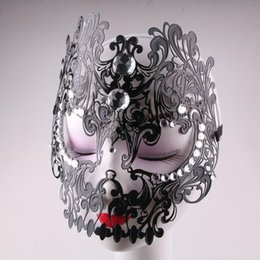 black venetian masquerade full mask Australia - Chic Beading Hollow Masquerade Masks For Adult Women Elegant Halloween Venetian Costumes Carnival Party Mask Black Sexy Mask