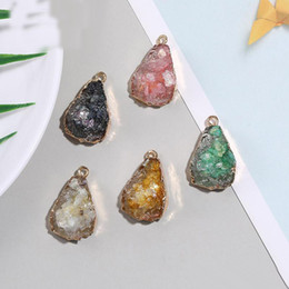 color stone charms NZ - New Resin Druzy Stone Pendant Charm Natural Gemstone Irregular Shape Multi Color Pendant With Gold Plate DIY Jewelry Making For Necklace
