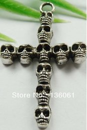 crutches wholesale Canada - Vintage Silver Cross Skull Crutch Elephant Owl Snowflake Angel Crown Charms Pendant For Bracelet Jewelry Accessories Mix Z1258